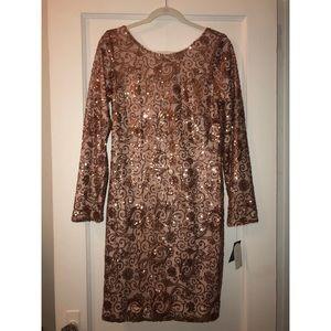 "Jessica Simpson ""Copper Sequin Long Sleeve Dress"""